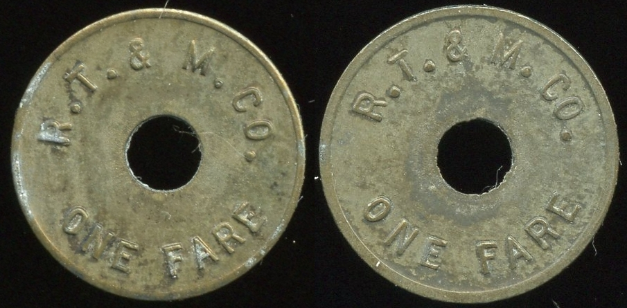TRANSPORTATION - Oregon Lot 131:  R.T. & M. CO. / (c/h) / ONE FARE // (same), (Portland), zn rd 18mm.  Listed OR 700A $75  MB$75 - Sold $80