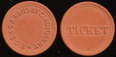 TRANSPORTATION - Nebraska Lot 106:  E.G.S. & S.A. RAILWAY CO AUBURN, N.Y. // Ticket, deep red vu rd 23mm.  Listed NY 35B $175  MB$175 - Sold $193