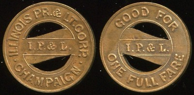 TRANSPORTATION - Illinois Lot 34:  ILLINOIS PR. & LT. CORP. / (on bar: I.P. & L.) / CHAMPAIGN // Good For / (on bar: I.P.& L.) / One Full Fare, bz rd 18mm.  Listed IL 135C $75  MB$75