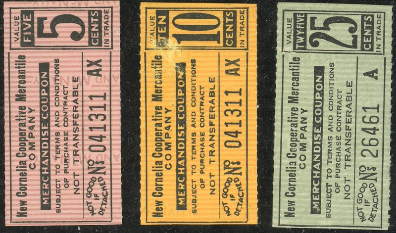 CHITS/TICKETS/CARDS - Arizona<br /> Lot 396:   From coupon book: NEW CORNELIA COOPERATIVE MERCANTILE / COMPANY. / MERCHANDISE COUPON  / 5 CENTS // (blank), (Ajo, AZ).  Black imprint /pink paper re 57x28mm.   G5-(EV$25/50)-MB$15<br /> <br /> Lot 397:  Similar, but 10 / CENTS.  Orange paper.  G5-(EV$25/50)-MB$15<br /> <br /> Lot 398  Similar, but 25 / CENTS.  Black imprint/ green paper.  G5-(EV$25/50)-MB$15<br /> <br /> Lot 399:  Previous 3 lots as a single lot.  Winning bid must exceed total of the individual lot high bids. G5- (EV$75/150)-MB$45 -SOLD 150
