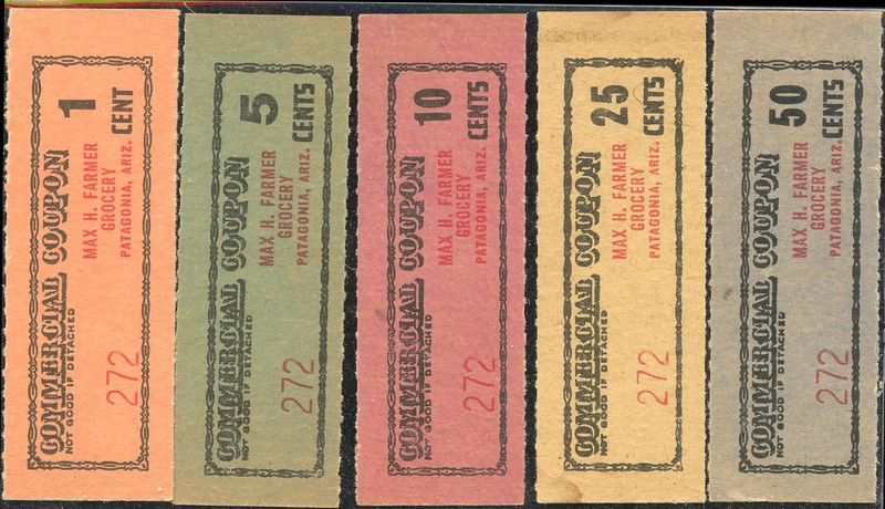 CHITS/TICKETS/CARDS - Arizona<br /> Lot 412:   From coupon book: COMMERCIAL COUPON / MAX H. FARMER / GROCERY / 1 / CENT / PATAGONIA, ARIZ. // (blank).   Black/red imprint orange cd re 70x25mm.     G5-(EV$35/70)-MB$30<br /> <br /> Lot 413:   Similar, but 5 / CENTS.  Green cb.    G5-(EV$35/70)-MB$30<br /> <br /> Lot 414:   Similar, but 10 / CENTS.  Red cb.     G5-(EV$35/70)-MB$30<br /> <br /> Lot 415:  Similar, but 25 / CENTS.  Cream cb.   G5-(EV$35/70)-MB$30<br /> <br /> Lot 416:  Similar, but 50 / CENTS.  Grey cb.  G5-(EV$35/70)-MB$30<br /> <br /> Lot 417:  Previous 5 lots as a single lot.  Winning bid must exceed total of the individual lot high bids.  G5- (EV$200/400)-MB$150 - SOLD $250