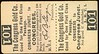 CHITS/TICKETS/CARDS - Arizona<br /> Lot 402:  Transportation ticket: THE CONGRESS GOLD CO. / GOOD FOR ONE FIRST CLASS / PASSAGE. / CONGRESS JUNCT. TO CONGRESS, stub CONGRESS TO / CONGRESS JUNCT.  // (blank), (AZ).  Black imprint/ cream cb re 31x57mm, crease at upper right corner.    G5-(EV$100/200)-MB$75 - SOLD $90