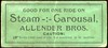CHITS/TICKETS/CARDS - Unlocated<br /> Lot 432:  GOOD FOR ONE RIDE ON / STEAM – CAROUSAL, / ALLENDER BROS..  Black imprint/green cb re 97x43mm, creased. G3-(EV$64/100)-MB$35 - DNS