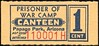 CHITS/TICKETS/CARDS - Arizona<br /> Lot 411:  From coupon book: PRISONER OF / WAR CAMP / CANTEEN / PAPAGO PARK, ARIZONA / 1 CENT // (blank).   Blue/red imprint/yellow paper re 51x23mm.   G5-(EV$100/200)-MB$75 - SOLD $275