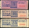 CHITS/TICKETS/CARDS - Arizona<br /> Lot 407:  From coupon book: OCTAVE  GOLD / MINING CO / 5 CENTS // (blank),  Blue/red imprint /pink paper re 66x22mm.   G5-(EV$35/70)-MB$25<br /> <br /> Lot 408:   Similar, but 10 / CENTS.  Blue/red imprint /orange paper.    G5-(EV$35/70)-MB$25<br /> <br /> Lot 409:   Similar but 25 / CENTS.  Blue/red imprint /cream paper.   G5-(EV$35/70)-MB$25<br /> <br /> Lot 410:  Previous 3 lots as a single lot.  Winning bid must exceed total of the individual lot high bids.  G5- (EV$100/200)-MB$75 - SOLD $150
