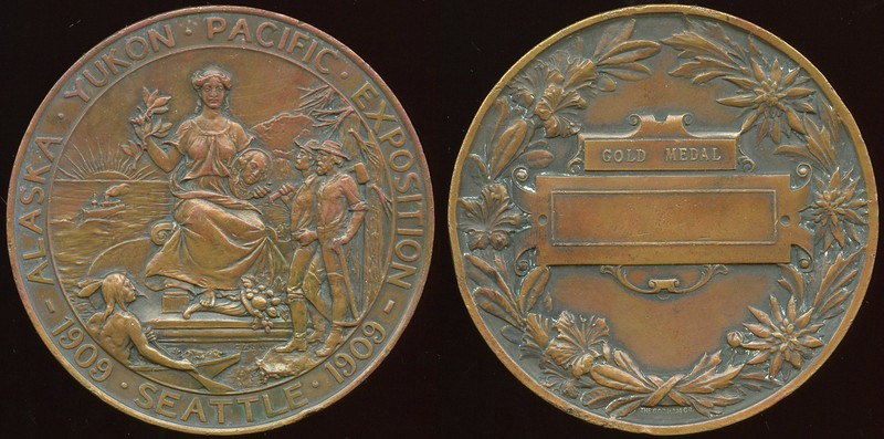 MEDAL - Washimngton<br /> Lot 504:  ALASKA • YUKON • PACIFIC • EXPOSITION / (Exposition Seal) / 1909 • SEATTLE •1909 // (within wreath: Gold Medal / [blank panel]) / (sm: The Gorham Co.), cu rd 76mm.  Impressive 5mm thick medal with a few edge dings.     G5-(EV$125-$250) MB$100 - DNS