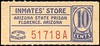 CHITS/TICKETS/CARDS - Arizona<br /> Lot 405:  From coupon book: INMATES' STORE / ARIZONA STATE PRISON / FLORENCE, ARIZONA  / 10 / CENTS // (blank).  Blue/red imprint/orange cb re 51x23mm.   G5-(EV$25/50)-MB$20 - SOLD $90