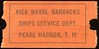 CHITS/TICKETS/CARDS - Terr of Hawaii<br /> Lot 429:  Ticket: AIEA NAVAL BARRACKS / SHIPS SERVICE DEPT. / PEARL HARBOR , T.H. // 5¢. Black imprint/red cb re 51x26mm.    G5-(EV$16/32)-MB$12 - SOLD $22