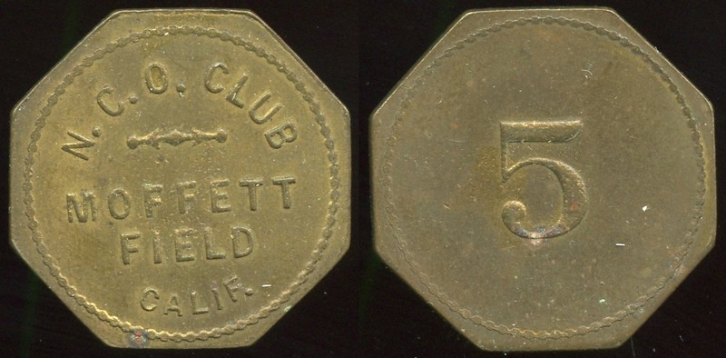 MILITARY - Moffett Field, California<br /> Lot 424:  N.C.O. CLUB / MOFFETT / FIELD / CALIF. // 5, br oc 25mm.  Listed CA1020A.  G4-(EV$100/200)-MB$75 - SOLD $100