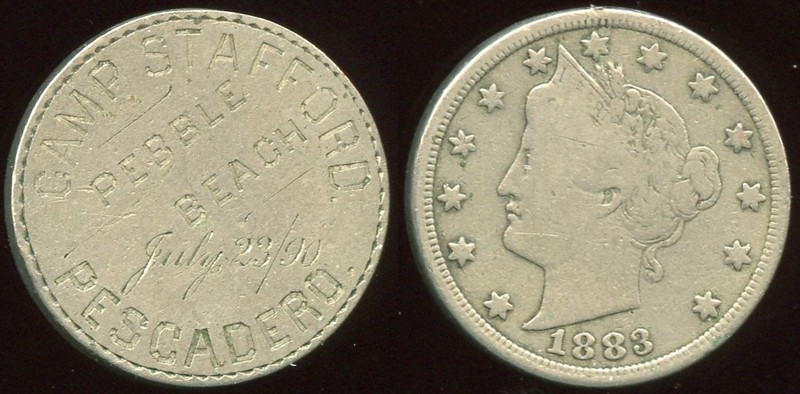 COUNTERSTAMPED / ENGRAVED<br /> Lot 508:  Engraved on US 1883 V cents: CAMP STAFFORD. / PEBBLE / BEACH / JULY 23/90 / PESCADERO.  (CA).  Pebble Beach is the northern section of Bean Hollow State Beach, located south of Pescadero.  G3-(EV$100/200)-MB$75 - SOLD $135