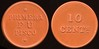 Latin America TRANSPORTATION - Lima, Peru<br /> Lot 388:  PRIMERA / F U / PISCO // 10 / Cents, reddish brown vu rd 26mm.  Listed 560A $25.   G5-(EV$50/100)-MB$35 - SOLD $75