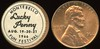 STICKERED COIN - Montebello, CA<br /> Lot 470: MONTEBELLO / LUCKY / PENNY / AUG. 19-20-21 / 1966 / FUN FESTIVAL, (CA), white/black imprint label rd 17mm on 1966 Lincoln cent.  Listed S1.   G5-(EV$8/16)-MB$6 - DNS