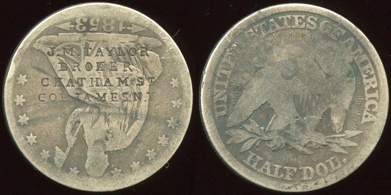 COUNTERSTAMPED / ENGRAVED<br /> Lot 505:  Counterstamped on US 1853 half dol.: J.M. TAYLOR / BROKER / CHATHAM ST / COR. JAMES N.Y., (New York City).  Listed Rulau NY 889D.  G3-(EV$100/200)-MB$75 - SOLD $85