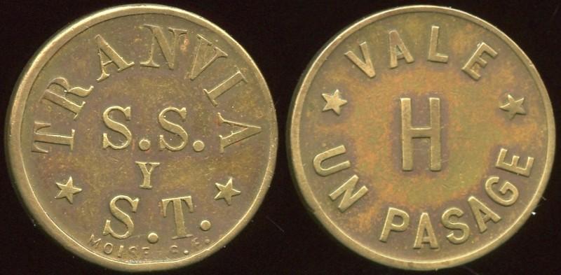 Latin America TRANSPORTATION - San Salvador, El Salvador<br /> Lot 389:  TRANVIA / S.S. / Y / S.T. / (sm: MOISE S.F.) // Vale / H / Un Pasage, (San Salvador), br rd 21mm.  S.S. = San Salvador, S.T. = San Tecla.  No listings for country!  G4-(EV$15/30)-MB$10 - SOLD $65
