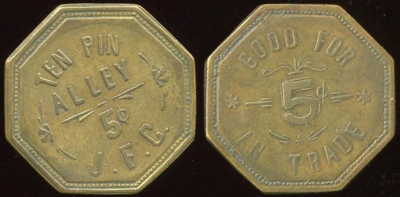 COLORADO - Colorado Springs<br /> Lot 100:  TEN PIN / ALLEY / 5¢ / J.F.C. // Good For / 5¢ / In Trade, (Colorado Springs), br oc 27mm.  Unlisted!  Consignor suggested attribution.  G3-(EV$75/150)-MB$50 - DNS