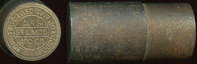 CALIFORNIA - Cement<br /> Lot 51: Token die!  Reverse for Cement A-CON 20B, 1K-3:  GOOD FOR FIVE CENTS IN TRADE / P.P.C. / COM. DEP. / CO. CON, steel 21mm diameter x 46mm high.   G3-(EV$50/100)-MB$30 - DNS