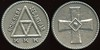 KU KLUX KLAN<br /> Lot 627:  (around triangle: NON-SILBA / SED-ANTHAR / KKK // (cross), cast wm rd 37mm.  Unlisted!  G5-(EV$50/100)-MB$40