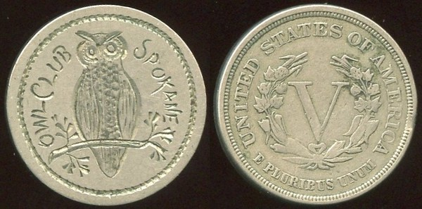 MISCELLANEOUS - WA, Spokane<br /> Lot 652:  (engraved coin)  1883 V nickel with unusual fine engraving on smoothed obverse:  OWL CLUB SPOKANE / (owl on branch), (WA).    G3-EV$50/100-MB$25 // SOLD $116