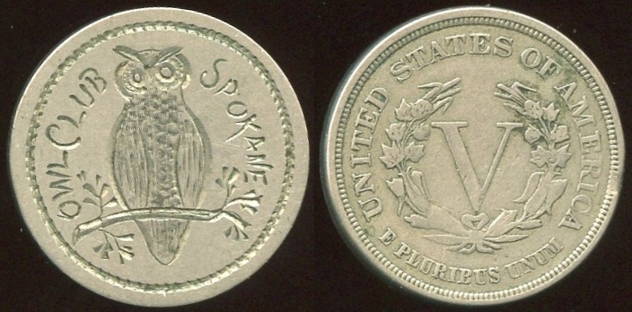 MISCELLANEOUS - WA, Spokane<br /> Lot 652:  (engraved coin)  1883 V nickel with unusual fine engraving on smoothed obverse:  OWL CLUB SPOKANE / (owl on branch), (WA).    G3-EV$50/100-MB$25