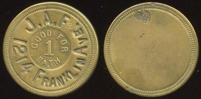 MISSOURI - St. Louis<br /> Lot 314:  J.A.F. (i) / GOOD FOR / 1 / BATH / 1214 FRANKLIN AVE. (i) // (blank), (St. Louis), br rd 23mm.   G3-EV$8/16-MB$6