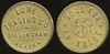 ALASKA - Dillingham<br /> Lot 46:  LOWE / TRADING CO. / DILLINGHAM, / ALASKA // Good For / 5¢ / In Trade, br rd 21mm.  Listed 4.A. $200.   G4-EV$150/300-MB$75 // SOLD $145
