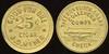 ALASKA - Juneau<br /> Lot 52:  GOOD FOR ONE / 25¢ / CIGAR / J.D. MEYER // The Brunswick Balke / Collender / Compy. / (billiard table) / Check, (Juneau or Portland, OR), br rd 25mm.  Listed 51.B $200.    G5-EV$150/300-MB$75