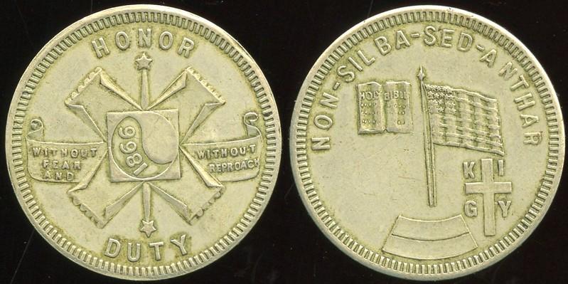 KU KLUX KLAN<br /> Lot 620:  HONOR / (Imperial Symbol) / DUTY // Non-Silba-Sed-Anthar / (bible) / (American flag) / KI / (cross) / GY, wm rd 30mm.  Listed 207.   G4-(EV$175/350)-MB$125 // SOLD $180