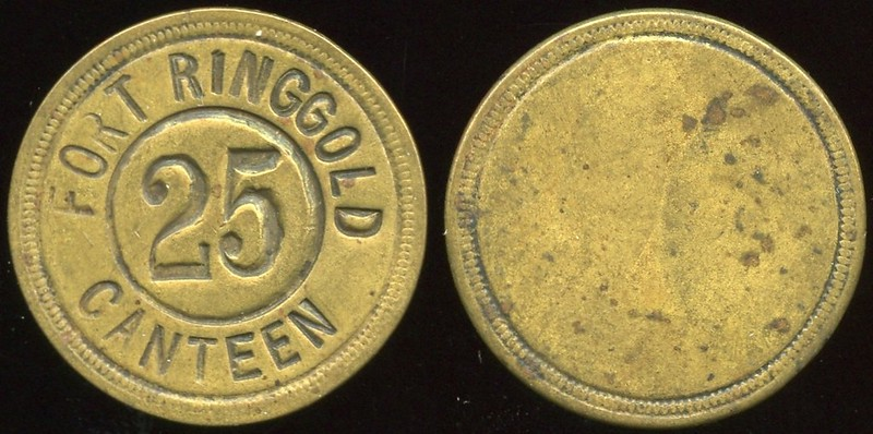 MILITARY - Texas, Fort Ringgold<br /> Lot 600:  FORT RINGGOLD / 25 / CANTEEN (a/i) // (uniface), br rd 23mm.  Listed 2230.    G3-(EV$750/1,500)-MB$550