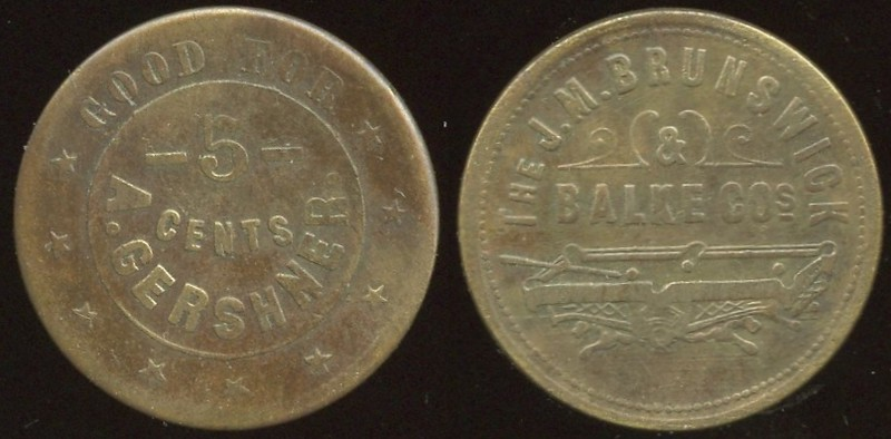 ARKANSAS<br /> Lot 221:  GOOD FOR / 5 / CENTS / A. GERSHNER // The J.M. Brunswick / & / Balke Cos / (billiard table), (Little Rock), br rd 24mm.  Unlisted!   G3-EV$75/150-MB$60 -- no bids