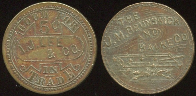 ALABAMA<br /> Lot 220: GOOD FOR / 5¢ / I.J. LEE / & CO. / IN / TRADE // // The J.M. Brunswick / And / Balke Cos / (billiard table), br rd 25mm, (Tuscaloosa), br rd 25mm.  Unlisted!  G3-EV$75/150-MB$60 -- sold $60 + 10%