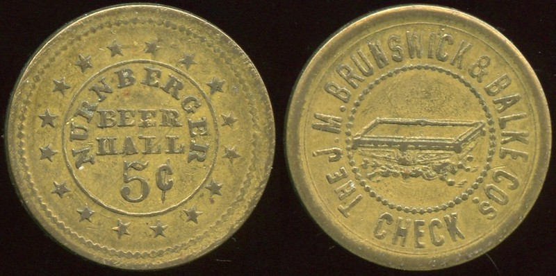 ILLINOIS<br /> Lot 210: NURNBERGER / BEER / HALL / 5¢ // The J.M. Brunswick / & / Balke Cos / (billiard table) / Check, (Chicago), br rd 25mm.  Unlisted!   G4-EV$125/250-MB$100