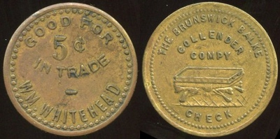 ILLINOIS<br /> Lot 213: GOOD FOR / 5¢ / IN TRADE / WM. WHITEHEAD // The Brunswick Balke / Collender / Compy / (billiard table) / Check, (East St. Louis), br rd 25mm.  Unlisted!   G4-EV$75/150-MB$50