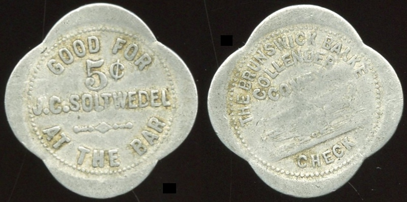 INDIANA<br /> Lot 219: GOOD FOR / 5¢ / J.C. SOLTWEDEL / AT THE BAR // The Brunswick Balke / Collender / Compy / (billiard table) / Check, (Hammond), al sc-4 29mm.  Unlisted!  G4-EV$50/100-MB$35