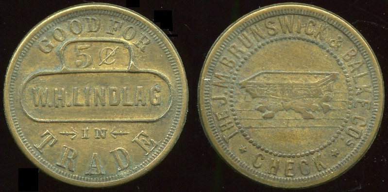 INDIANA<br /> Lot 218: GOOD FOR / 5¢ / W.H. LINDLAG / IN / TRADE // The J.M. Brunswick & Balke Cos / (billiard table) / Check, (Fort Wayne), br rd 25mm.  Unlisted!  G3-EV$50/100-MB$35