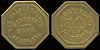 SALOON - California, Azusa<br /> Lot 16:  THE PALACE SALOON / GARRETT / BROS. / AZUSA, CAL. // Good For / 10 / Cents / In Trade, br oc 26mm.  Listed 2F-1 $500/1000.   G3-MB$400