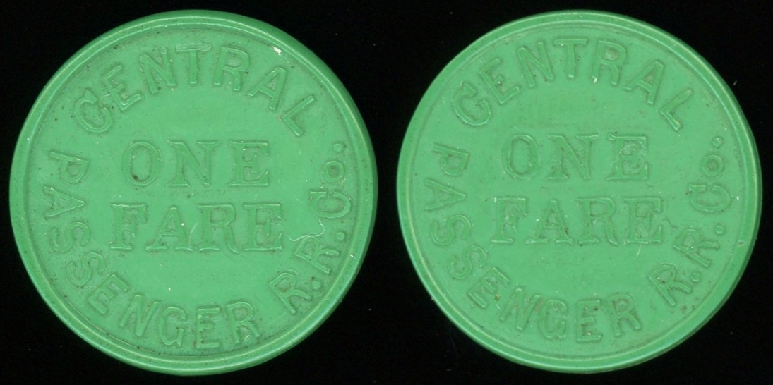 TRANSPORTATION -- Kentucky  Lot 102 CENTRAL / ONE / FARE / PASSENGER R.R. CO. // (same),  green ce rd 22mm.  KY 510W $350.  G5-($500-$1000)  SOLD $700