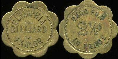 OLYMPIA  / BILLIARD / PARLOR // Good For / 2½¢ / In Trade, br sc-8 29mm.  Unlisted.