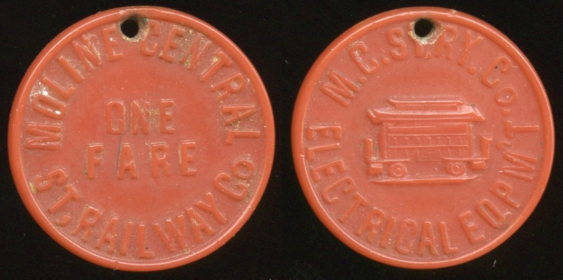 TRANSPORTATION -- Illinois  Lot  61  MOLINE CENTRAL / ONE / FARE / ST. RAILWAY CO // M.C. St .Ry. Co. / (streetcar) / Electrical Eqpm't, carmine ce rd 23mm, hole added 12:00.   IL 580A $100    G4-MB $100 Sold $110