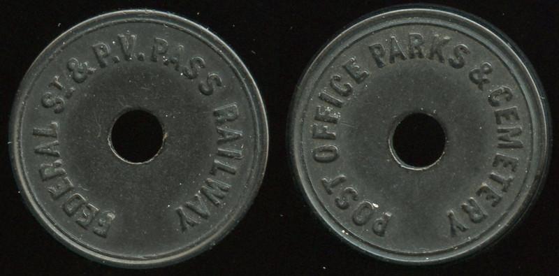 TRANSPORTATION -- Pennsylvania<br /> <br /> Lot  254  FEDERAL ST & P.V. PASS RAILWAY / (c/h) // Post Office Parks & Cemetery / (c/h), (Pittsburgh), black vu rd 23mm.  PA 765I $85    G4-MB $85  No Bid