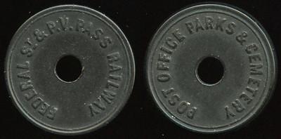 TRANSPORTATION -- Pennsylvania  Lot  254  FEDERAL ST & P.V. PASS RAILWAY / (c/h) // Post Office Parks & Cemetery / (c/h), (Pittsburgh), black vu rd 23mm.  PA 765I $85    G4-MB $85  No Bid