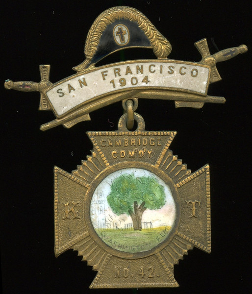SAN FRANCISCO -- Knights Templar<br /> <br /> Lot 394  Hanger: (cap) / (swords) / SAN FRANCISCO / 1904 (black/white enameled) // (pin); badge: CAMBRIDGE  COM'D'Y / K (green/white/black enamel tree / WASHINGTON ELM) T / NO. 42 // The / C.M. Robbins Co. / Makers / Attleboro, Mass. / U.S.A.,(MA) , bz Maltese cross 32x32mm; overall 51x58mm.    G5-($16-$32)  Sold as part of group lot 405 $555.00