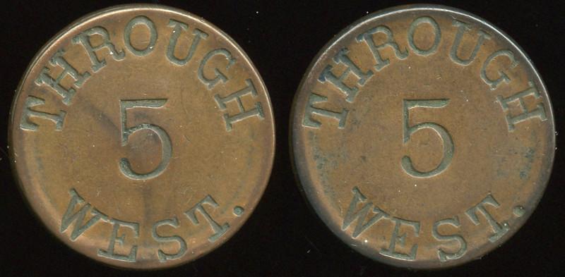 TRANSPORTATION -- West Virginia<br /> <br /> Lot  284  THROUGH / 5 / WEST. (a/i) // (same), (Wheeling), cu rd 28mm.  WV 890D $100    G3-MB $100 No Bid