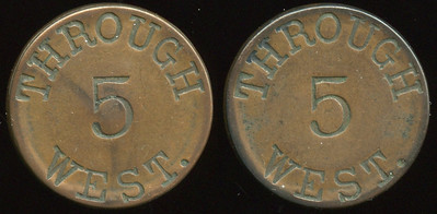 TRANSPORTATION -- West Virginia  Lot  284  THROUGH / 5 / WEST. (a/i) // (same), (Wheeling), cu rd 28mm.  WV 890D $100    G3-MB $100 No Bid
