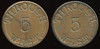 TRANSPORTATION -- West Virginia<br /> <br /> Lot  284  THROUGH / 5 / WEST. (a/i) // (same), (Wheeling), cu rd 28mm.  WV 890D $100    G3-MB $100 No Bid