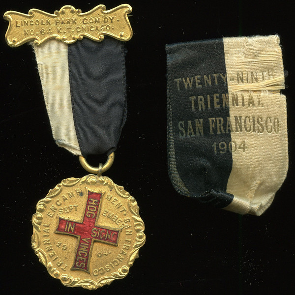 SAN FRANCISCO -- Knights Templar<br /> <br /> Lot 390  Hanger:  LINCOLN PARK COM'DY. / NO. 64 K.T. CHICAGO // (pin); ribbon:  black/white, additional ribbon included appears as though it was the original ribbon inscribed in gold: TWENTY-NINTH / TRIENNIAL / SAN FRANCISCO / 1904 ; badge: TRIENNIAL ENCAMPMENT SAN FRANCISCO / (red-enameled cross inscribed HOG / IN SIGNO / VINCES) / 1904 // (uniface), gilt br irr rd 32mm; overall 35x81mm.    G4-($16-$32)  Sold as part of group lot 405 $555.00