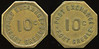 MILITARY -- Rhode Island<br /> <br /> Lot 730  POST EXCHANGE 10C / FORT GREBLE // (same), br oc 26mm.  Listed RI170d.  G3-($64-$125) Sold $50.00