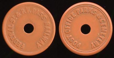 TRANSPORTATION -- Pennsylvania  Lot  255  FEDERAL ST & P.V. PASS RAILWAY / (c/h) // Post Office Parks & Cemetery / (c/h), (Pittsburgh), brown vu rd 23mm.  PA 765JI $75    G4-MB $75 No Bid
