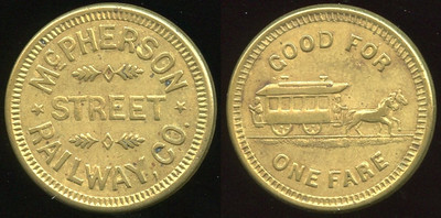 TRANSPORTATION -- Iowa  Lot  100  MCPHERSON / STREET /RAILWAY, CO. // Good For / (horsecar) / One Fare, br rd 23mm.  KS 640D $125    G5-MB $125 Sold $175.00