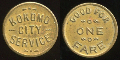 TRANSPORTATION -- Indiana  Lot  81  KOKOMO / CITY / SERVICE // Good For / One Fare, br rd 16mm.  IN 510C $75    G4-MB $75 Sold $80