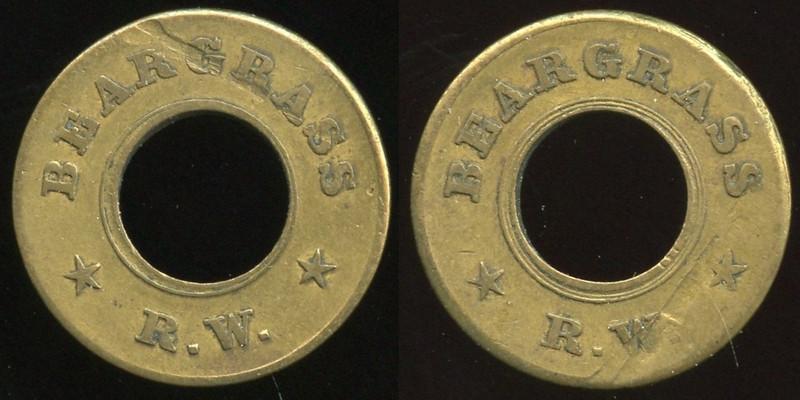 TRANSPORTATION -- Kentucky<br /> <br /> Lot  105  BEARGRASS / (c/ham) / R.W. // (same), br rd 21mm, scrape both O&R.  KY 510Z $85.    G2-MB $85  No Bid